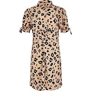 Bruine overhemdjurk met luipaardprint en knoop voor meisjes