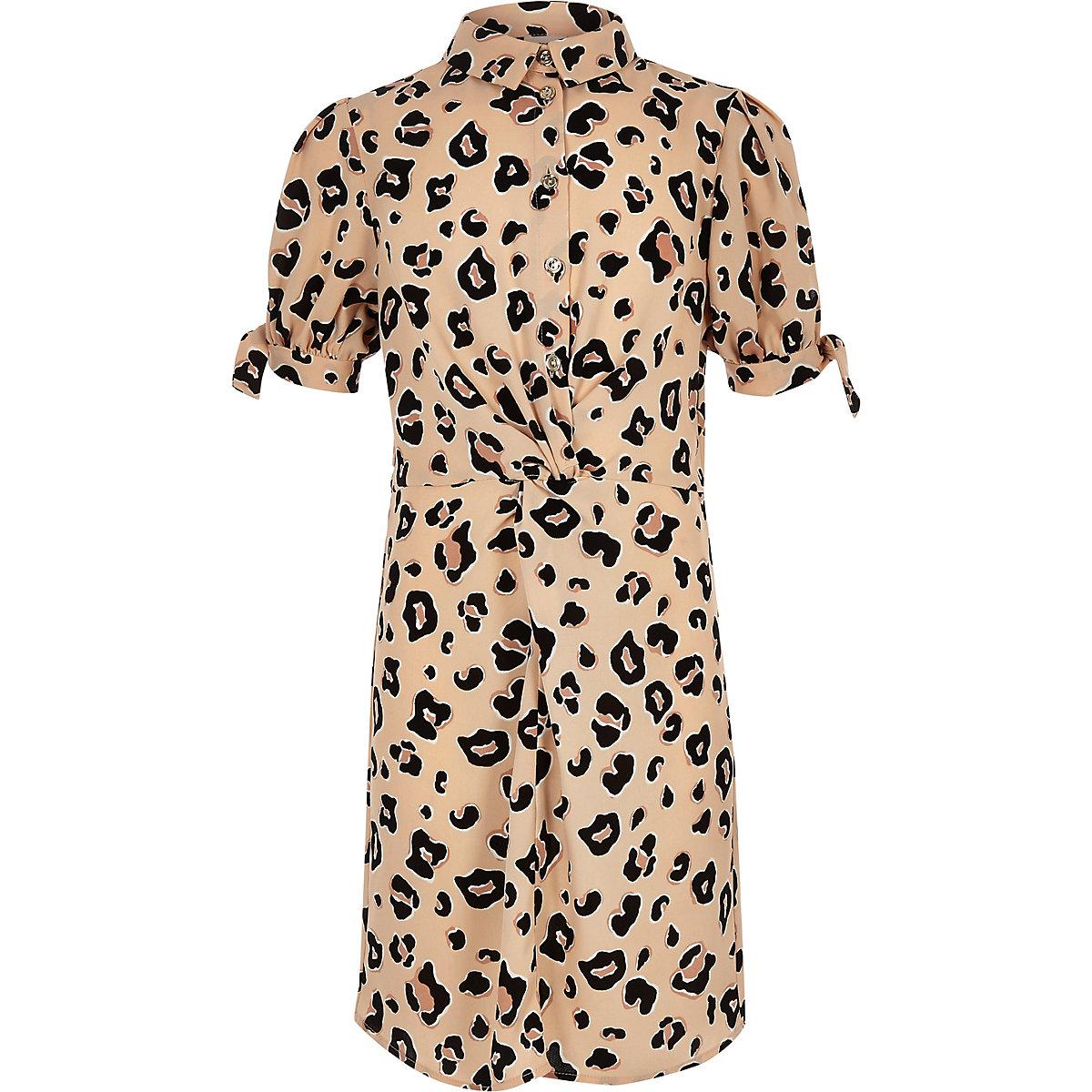 Girls brown leopard print knot shirt dress