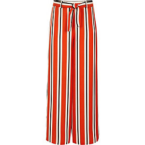 Girls orange stripe wide leg trousers