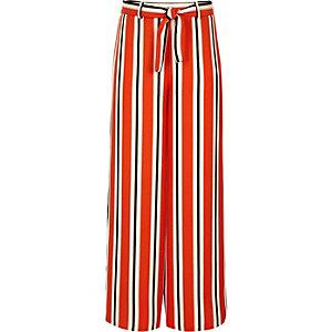 Oranje gestreepte broek met wijde pijpen voor meisjes