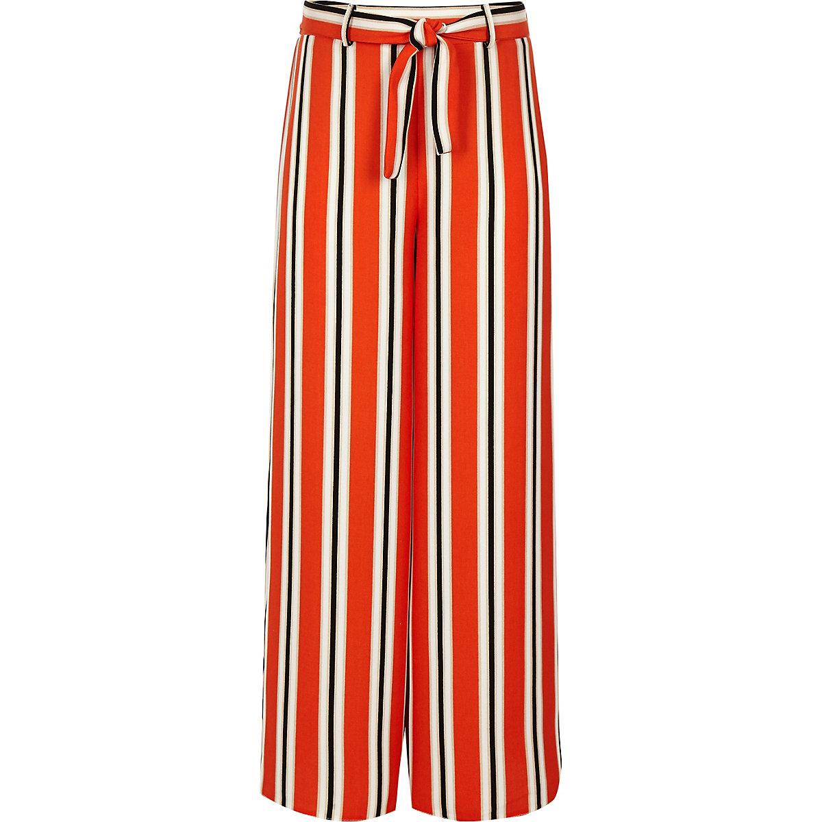Girls orange stripe wide leg trousers