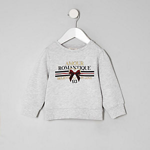 Mini girls grey 'Amour' sweatshirt