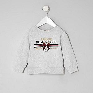 Mini - Grijze sweatshirt en 'Amour'-print voor meisjes