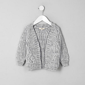 Mini girls grey chunky knit cardigan