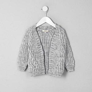 Mini - Grijs grofgebreid vest voor meisjes