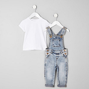 Mini girls blue acid denim dungarees outfit