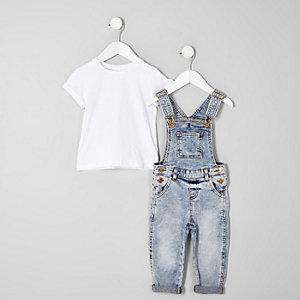 Mini girls blue acid denim overalls outfit