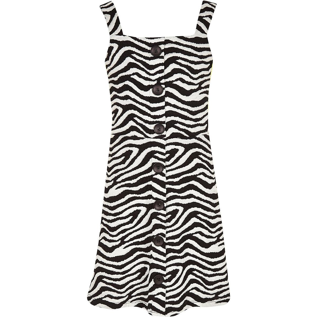 Girls white zebra print pinafore dress