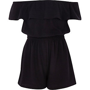 Girls black frill bardot romper