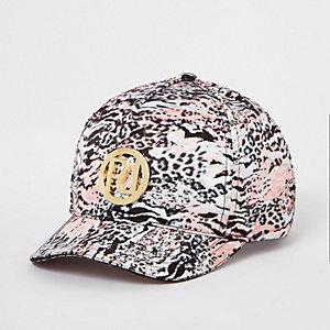 Roze pet met luipaardprint en RI-logo voor meisjes