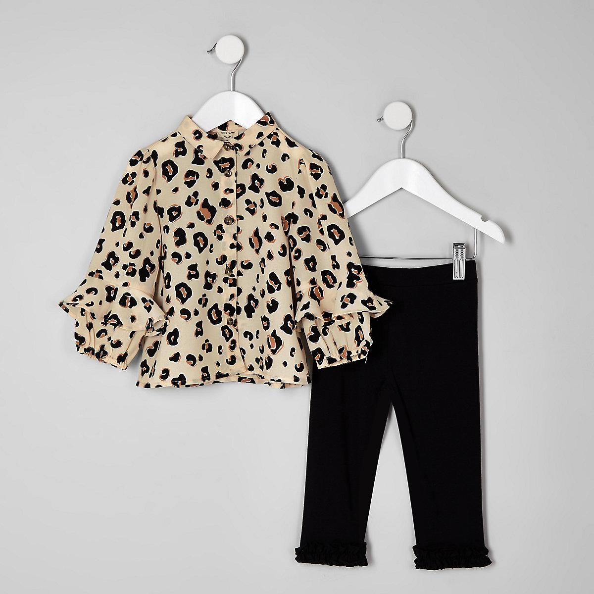Mini girls beige leopard print shirt outfit
