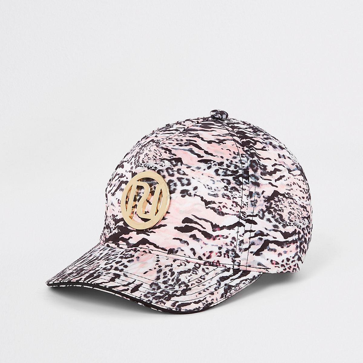 Mini girls pink leopard print cap