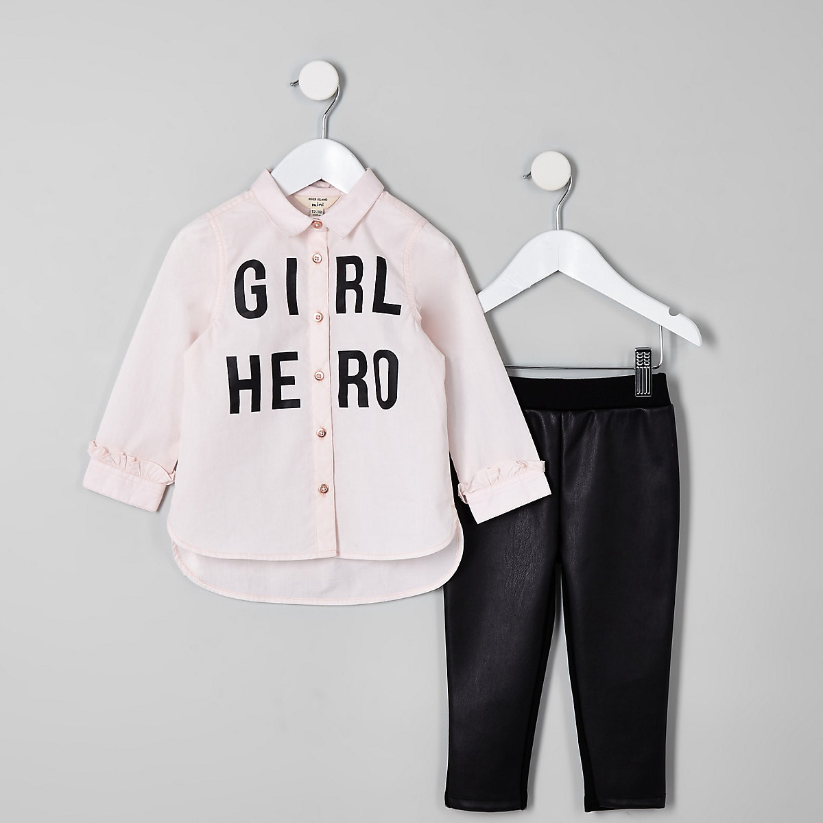 Mini girls pink 'Girl hero' shirt outfit