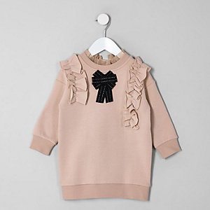 Mini girls brown bow jumper dress