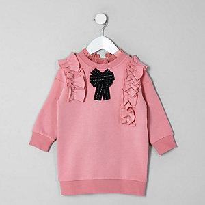 Robe pull rose à nœud mini fille