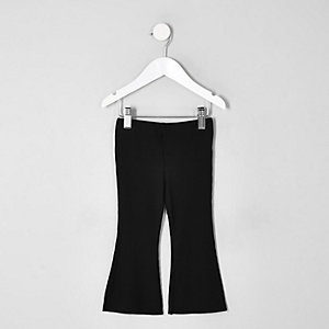 Mini girls black flared leggings