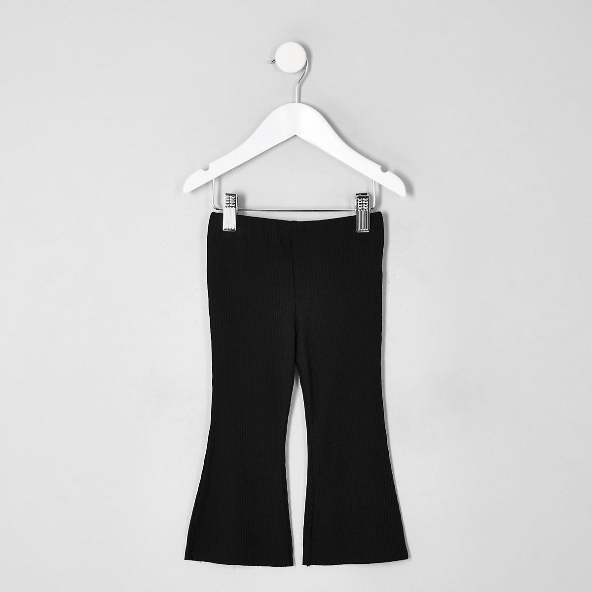 Mini girls black flared leggings