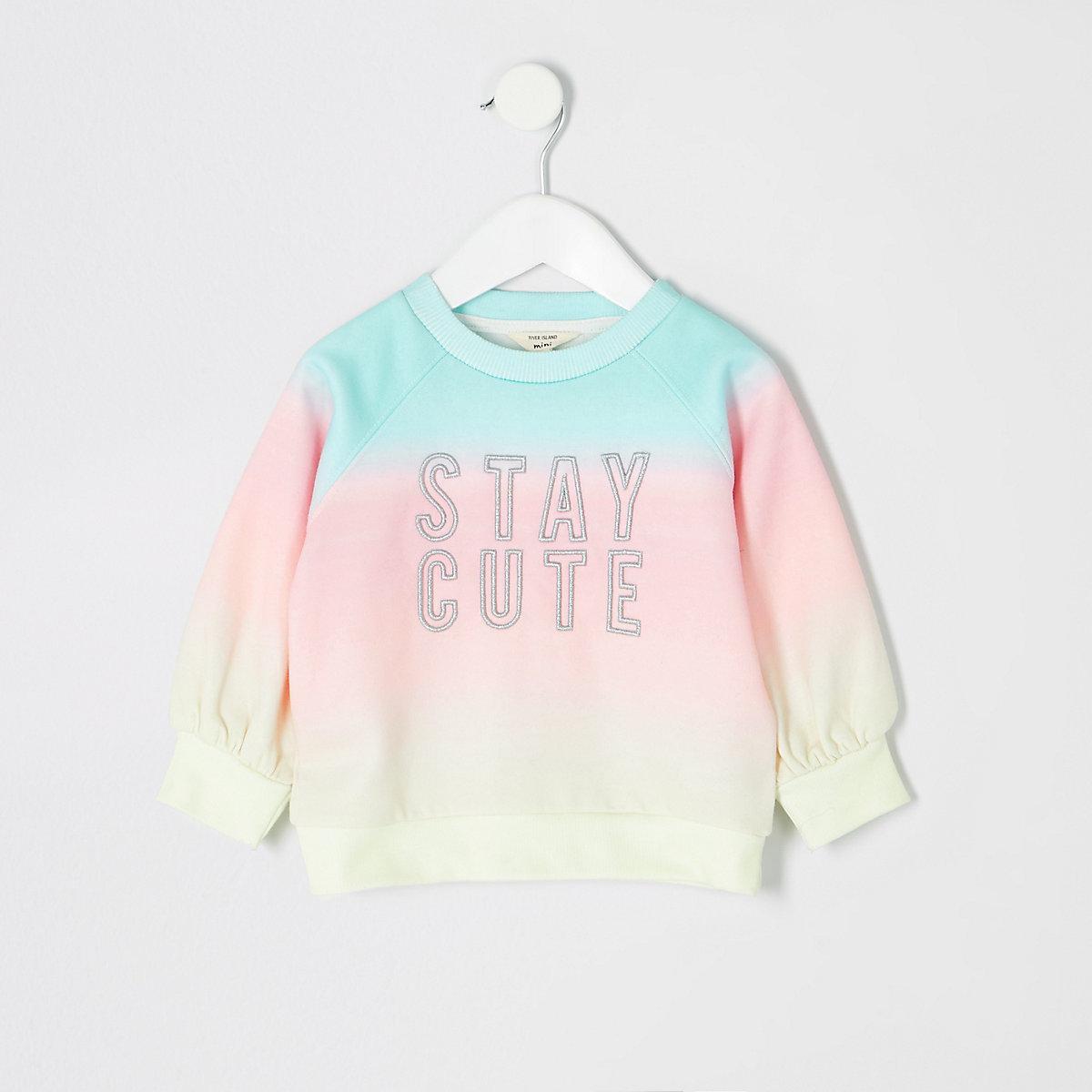 Mini girls blue tie dye sweatshirt