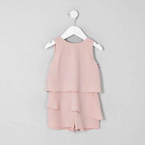 Mini girls pink frill skort romper
