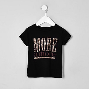Mini girls black 'More amore' T-shirt