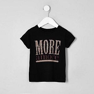 Mini - Zwart T-shirt met 'More amore'-print voor meisjes