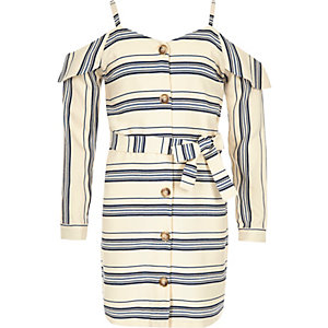 Marineblauwe gestreepte schouderloze jurk voor meisjes