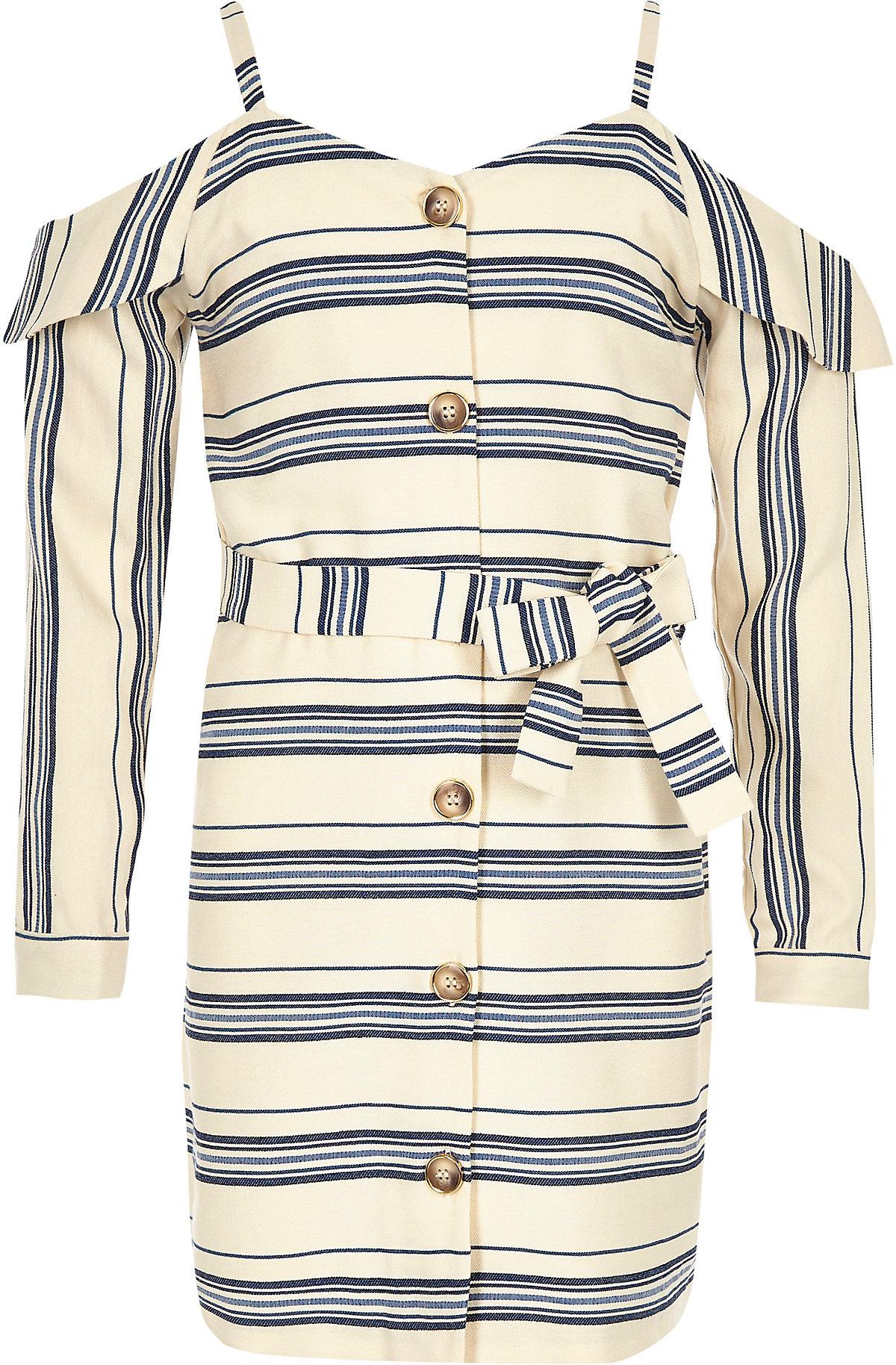 Girls navy stripe cold shoulder dress