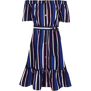 Robe mi-longue Bardot rayée bleue pour fille