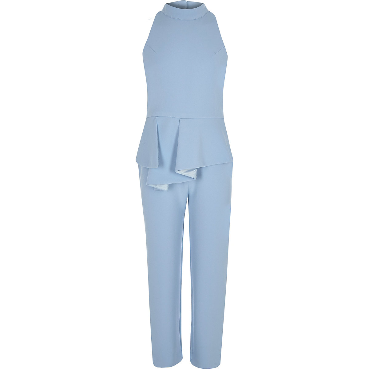 Girls blue peplum halter neck jumpsuit