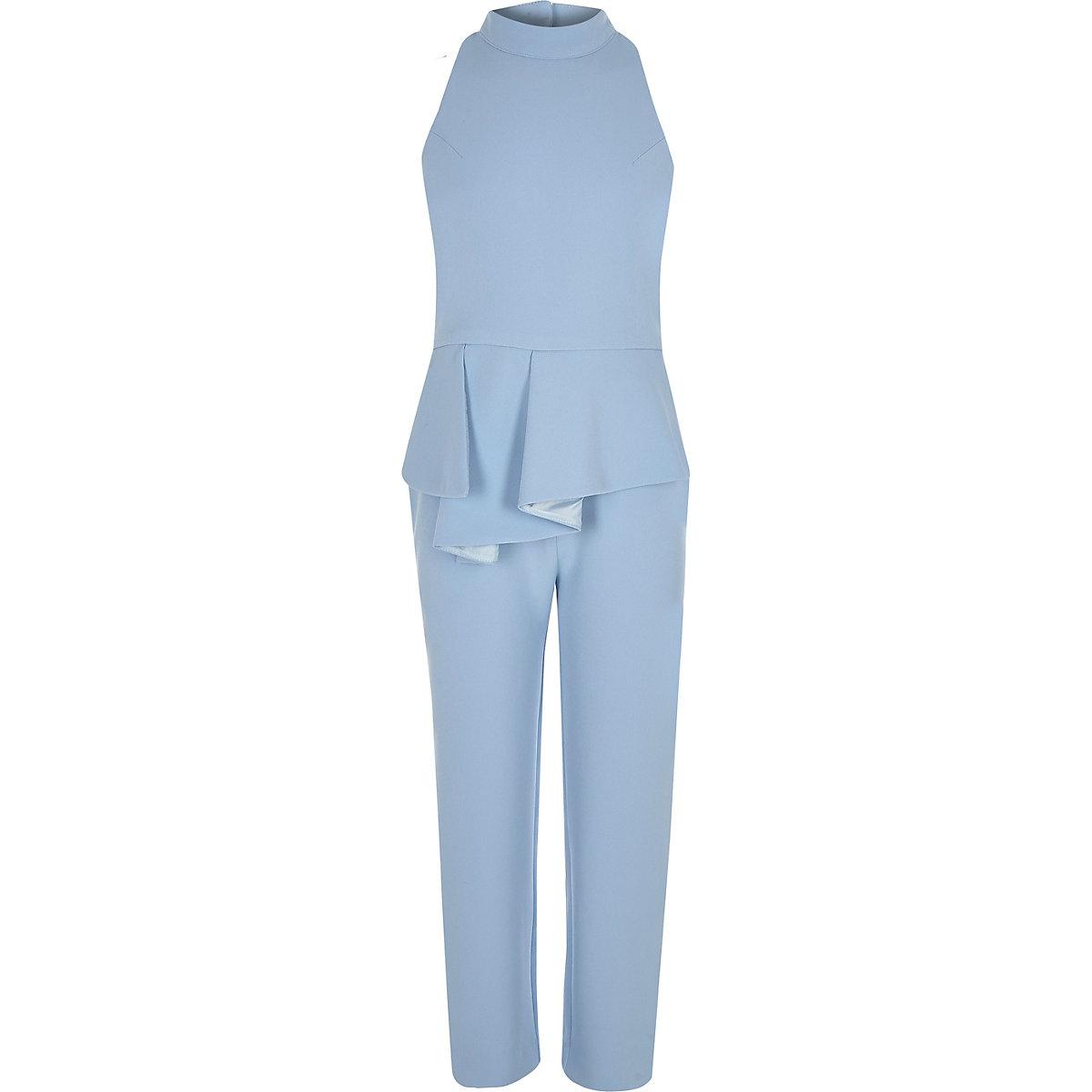 Girls blue peplum halter neck jumpsuit