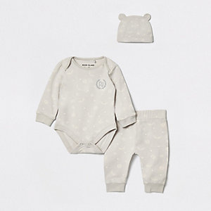 Baby grey RI monogram babygrow and hat set