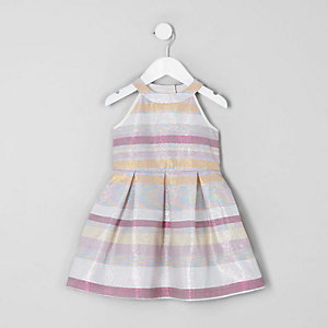 Robe de gala rayée rose pailletée mini fille