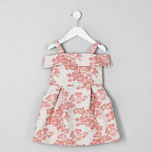 Robe de gala corail motif fleuri mini fille