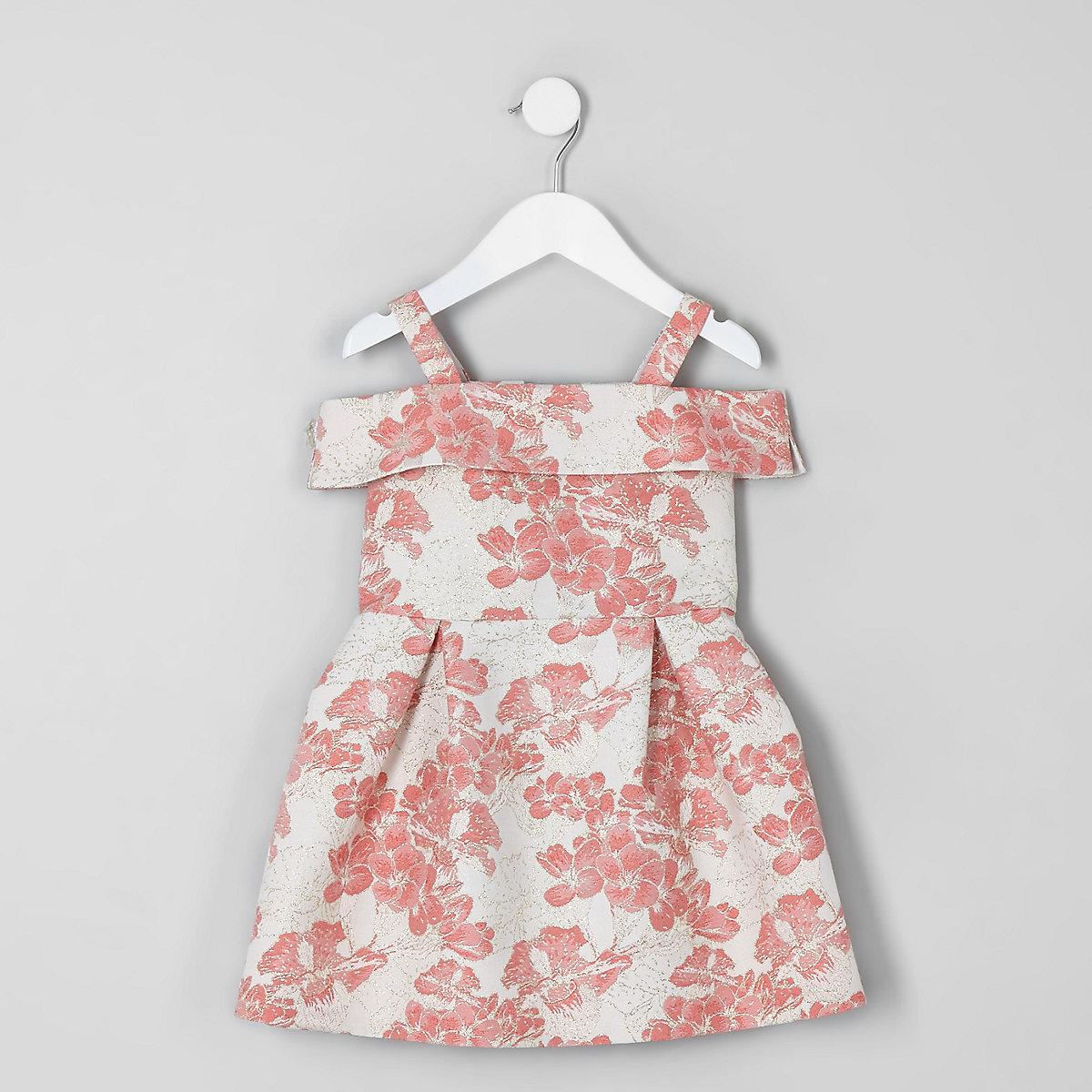 Mini girls coral floral jacquard prom dress