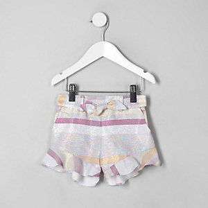 Mini girls pink stripe metallic frill shorts