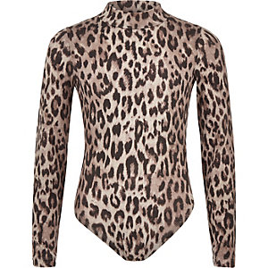 Girls grey leopard print bodysuit