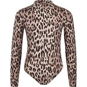 Grijze body met luipaardprint voor meisjes
