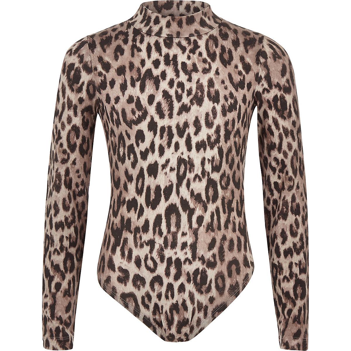 Girls grey leopard print bodysuit