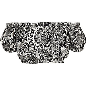 Girls grey snake print bardot top