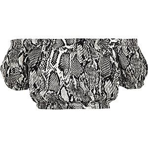 Grijze bardottop met slangenprint voor meisjes