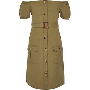 Girls khaki belted bardot dress