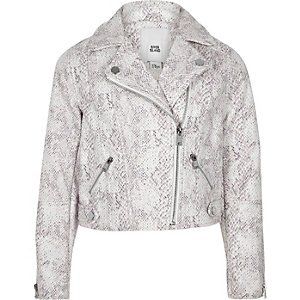 Girls cream snake print biker jacket