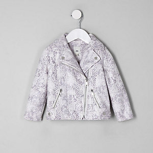 Mini girls cream snake print biker jacket
