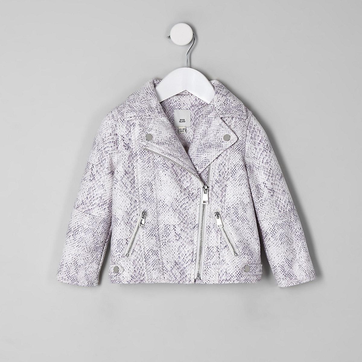 Mini girls cream snake print biker jacket