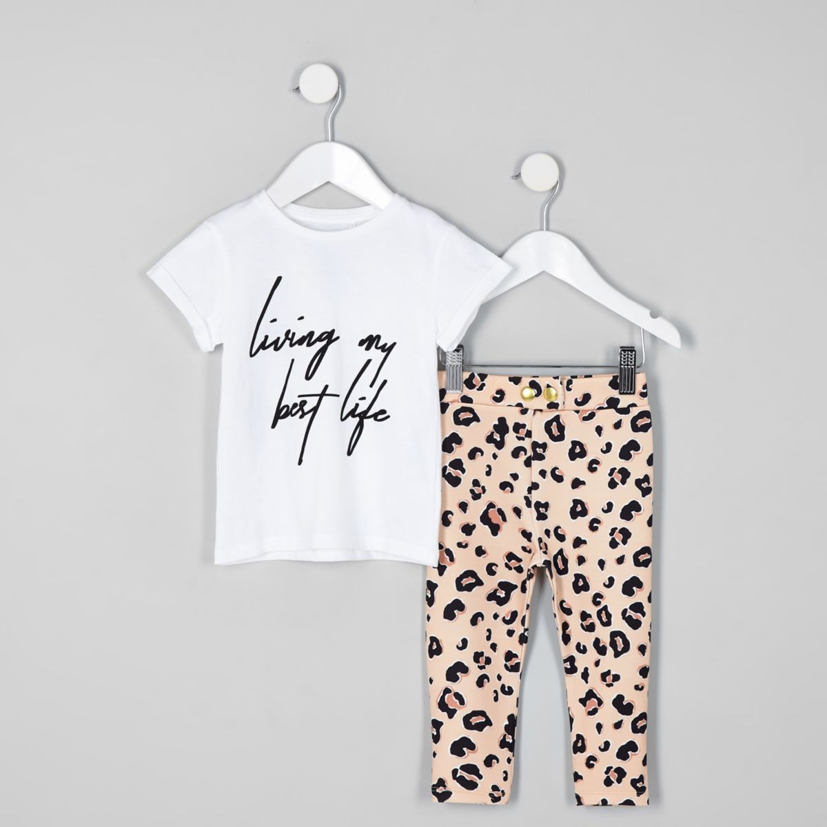 Mini girls white T-shirt and legging outfit