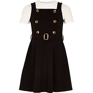Girls black 2 in 1 pinafore dress