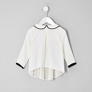 Mini girls cream pleated back longline top