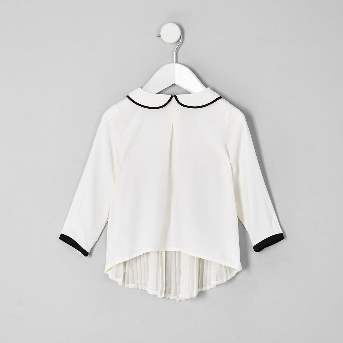 Mini girls cream pleated back longline top