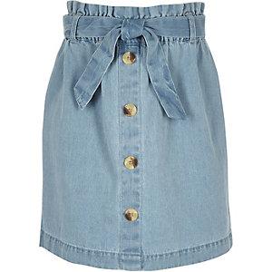 Blauwe denim rok met geplooide taille voor meisjes