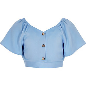 Girls blue button front top